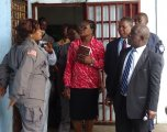 Min. Cherue (1st from right) being briefed by prison superintendent on developments at Monrovia Central Prison.