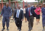 Min. Cherue (middle) tours Monrovia Central Prison.